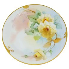 """Pickard H.P. 8 ¼"""" Yellow Roses Cake Plate- signed """"GASPER"""""""