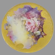 """Limoges 9.5"""" H.P. Pink Roses with Heavy Gold Cake Plate"""
