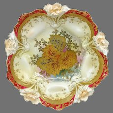 "R.S. Prussia 10.5"" Lily Mold Bowl with Gold Rose Center and Red Trim"