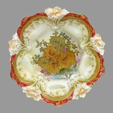 """R.S. Prussia 10.5"""" Lily Mold Bowl with Gold Rose Center and Red Trim"""