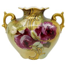 "Austrian H.P. Pillow Vase with Red Roses- signed ""M. Long"""