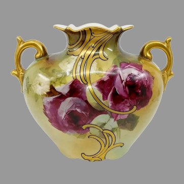"""Austrian H.P. Pillow Vase with Red Roses- signed """"M. Long"""""""