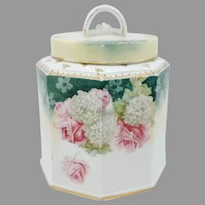 R.S. Prussia Octagonal Humidor with Roses and Snowballs
