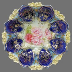 "R.S. Prussia 10.25"" Bowl with Roses & Cobalt Domes"