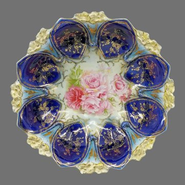 """R.S. Prussia 10.25"""" Bowl with Roses & Cobalt Domes"""