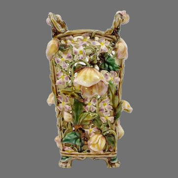 """Zsolnay Pecs 10"""" Reticulated Vase with Raised Flowers"""