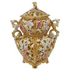 """Zsolnay Pecs 8 ½"""" Reticulated Lidded Urn with Orchids & Pink Flowers"""