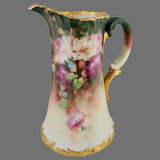 """Limoges H.P. """"Rose Cluster on Green Ground"""" Tankard-signed """"LOBA"""""""