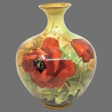 """Austrian H.P. 8"""" Vase with Poppies- """"G. Rose"""""""