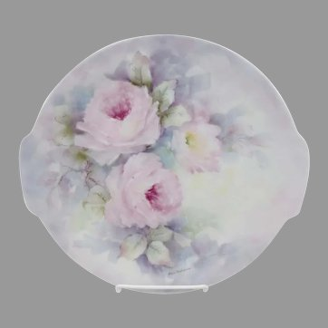 """Hand Painted 10.5"""" Cake Plate with Pink Roses- """"Oma Halsema"""""""