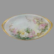 "Sherratt Studio 12.5"" H.P. Oval Bowl with Pink & White Roses"