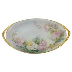 "Sherratt Studio 12.5"" H.P. Oval Bowl with Pink & White Roses"