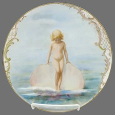 """Limoges 8 ½"""" H.P. Girl with Seashell Cake Plate"""