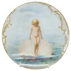 "Limoges 8 ½"" H.P. Girl with Seashell Cake Plate"