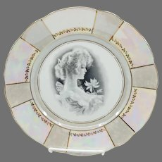 """UM 9 ½"""" Silhouette Cake Plate- Girl with Flower and Iridescent Border"""