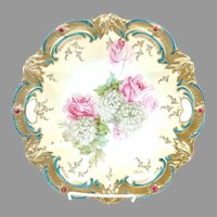 "R.S. Prussia 10 ½"" Roses with Gold & Red Jewels Cake Plate"