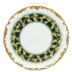 """T&V Limoges 9 ½"""" Holly & Berry Rococo Cake Plate"""