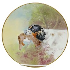 """Julius H. Brauer Co. H.P. Hunting Dog with Game Cake Plate- signed """"Brauer"""""""