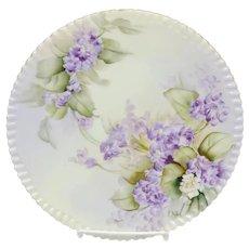 """Ester Miler 9¼"""" H.P. Limoges Cake Plate with Violets- signed """"E. Miler"""""""