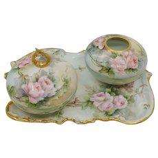 Limoges H.P. 3-Piece Dresser Set with Pink Roses