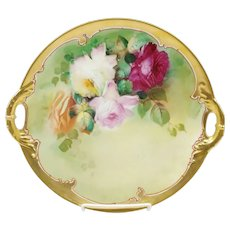 """Pickard 11"""" H.P. Red, Pink & White Roses Open Handled Cake Plate"""