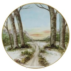 "F.L. Grunewald 12 ½"" H.P. Scenic Landscape Hanging Charger- signed ""F. Grunewald"""