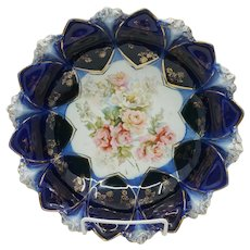 "R.S. Prussia 9.75"" Cobalt Bowl with Roses- Sawtooth Mold"
