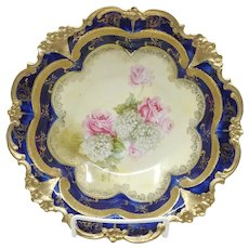 "R.S. Prussia 9"" Cobalt Blue Bowl with Roses & Gold"