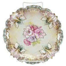 R.S. Prussia Iris Mold Cake Plate- Floral with Powder Blue Trim