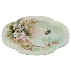 """""""F.B. Hall"""" Limoges H.P. Oval Dish with Peach Blossoms & Bumble Bee"""
