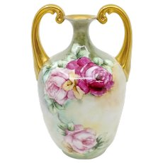 "Bavarian H.P. Muscle Vase with Red & Pink Roses- ""H. Kautz"""