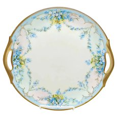 """John Schindler 11"""" H.P. Cake Plate with Forget-Me-Nots- """"Schindler"""""""