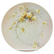 """Beatrice Carlsson 8.25"""" Cake Plate with Yellow Roses- """"Carlsson"""""""