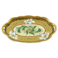 """Pickard H.P. Easter Lily Oval Dish by artist Emil Fischer """"Fish"""""""