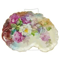 "Hand Painted 12.75"" Pink, Red & White Roses Kidney Shaped Tray- ""Morgan Moore"""