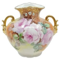 Hand Painted Pink Roses Vase with Face Handles