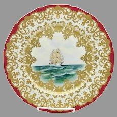 "Rosenthal 10 ½"" HP Nautical Scene Cake Plate w/Red Trim- artist signed ""Carlson"""