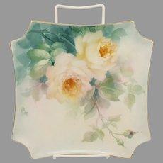 "Paula Collins 8.5"" H.P. White Roses Square Plate- ""P. Collins"""