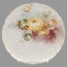"George Leykauf H.P. Cake Plate with Yellow Roses- ""G. Leykauf 1912"""