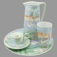 """R.S. Germany/Tillowitz H.P. Chamber Set with Swans- signed """"VBW"""""""