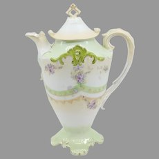 R.S. Prussia Chocolate Pot with Lilacs- Art Nouveau Years