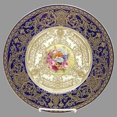 """Royal Worcester 10.5"""" H.P. Summer Floral Plate with Cobalt- signed """"E. Barker"""""""