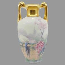 "Pickard Walled Garden Vellum Muscle Vase- signed ""Marker"""