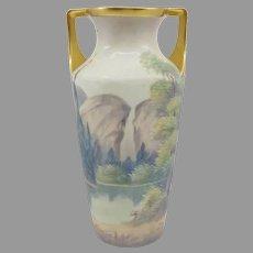 """Pickard 8 ¼"""" Yosemite Falls Vellum Vase- signed """"Marker"""""""