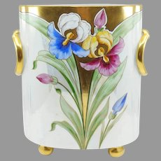 """12 ½"""" H.P. Cache Pot with Irises and Lustre- signed """"STEVE"""""""