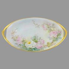 "Sherratt Studio 12 ½"" H.P. Oval Bowl with Pink & White Roses"