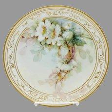 """H.P. 8 ½"""" Wild White Roses Cake Plate- signed """"Olinger"""""""