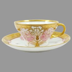 """Pickard H.P. """"Carnation and Raised Gold"""" Cup and Saucer- signed """"Fisher"""""""