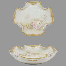 """H.P.  8 ¾"""" Open Handled Folded Edge Bowl with Pink, Yellow & White Roses- signed- """"S.M. Rose Cecilia"""""""