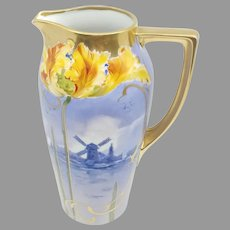 """H.P. 10 ¼"""" Bavarian Pitcher with Windmill and Tulips Decor"""